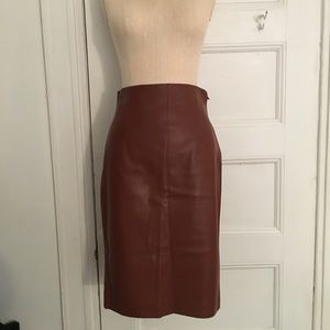 Zara Faux Leather Brown Skirt